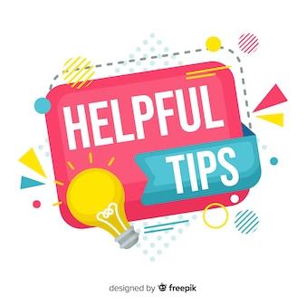 Fondo plano colorido consejos útiles