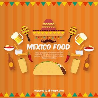 Fondo plano de comida mexicana