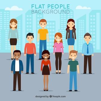 Fondo plano con gente y la ciudad