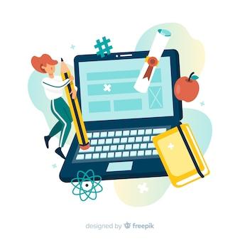 Fondo plano concepto e-learning