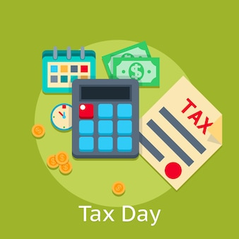 Fondo plano del concepto de las finanzas del negocio del pago de impuestos. ingresos financieros, financiamiento bancario en papel, ingresos y pagos