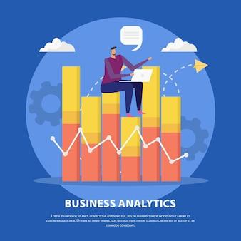 Fondo plano del concepto de gestión eficaz con siluetas de pictogramas de imágenes infográficas y carácter humano de doodle con ilustración de vector de texto