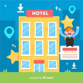 Fondo plano concepto reseña de hotel