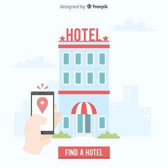 Fondo plano concepto reserva de hotel