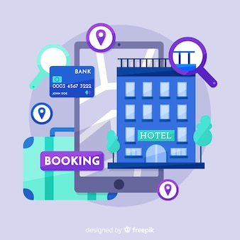 Fondo plano concepto reserva hotel