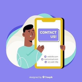 Fondo plano contacta con nosotros