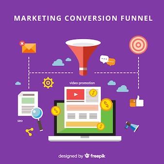 Fondo plano conversión marketing