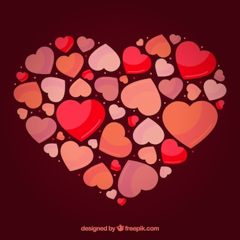 Fondo plano de corazón