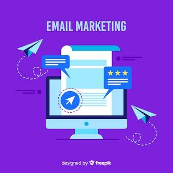 Fondo plano correo electrónico marketing