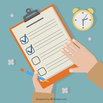 Fondo plano con cronómetro y manos sujetando una lista de verificación