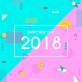 Fondo plano de año nuevo 2018