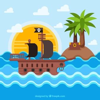 Fondo plano de barco pirata junto a una isla