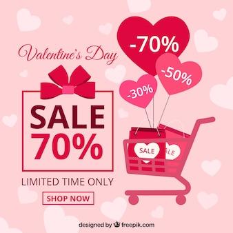 Fondo plano de venta del día de san valentín