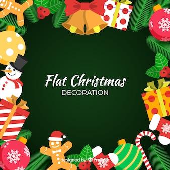 Fondo plano de decoración de navidad