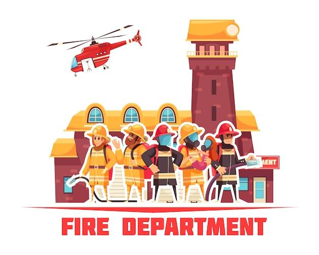 Fondo plano del departamento de bomberos