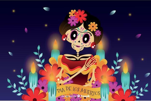 Fondo plano día de muertos y mujer esqueleto