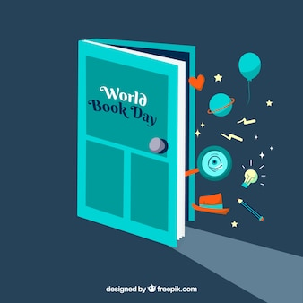 Fondo plano para el día mundial del libro