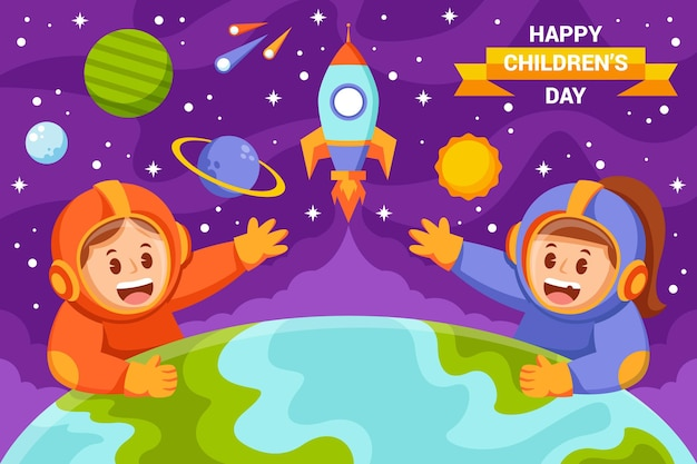 Fondo plano del día mundial del niño