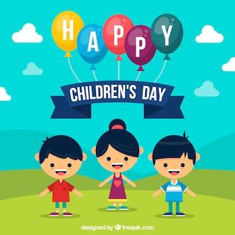 Fondo plano del día de los niños