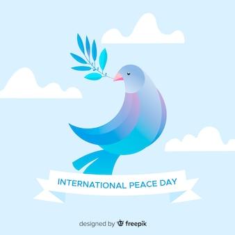 Fondo plano del día de la paz con paloma