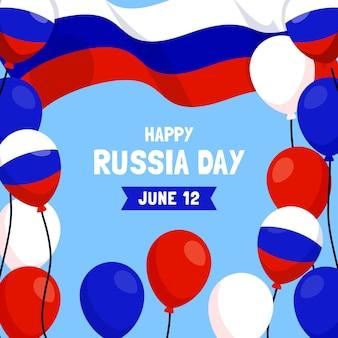Fondo plano del día de rusia con globos