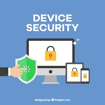 Fondo plano con dispositivos protegidos