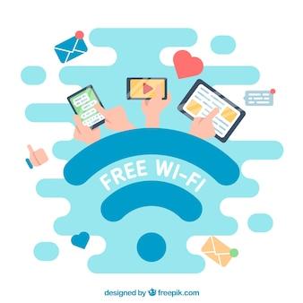 Fondo plano con dispositivos y señal wifi