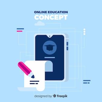 Fondo plano educación online