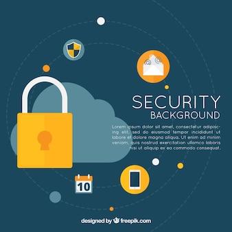 Fondo plano con elementos de seguridad
