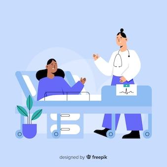 Fondo plano enfermera ayudando a paciente