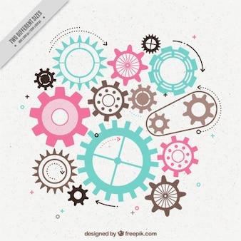 Fondo plano de engranajes con diferentes colores