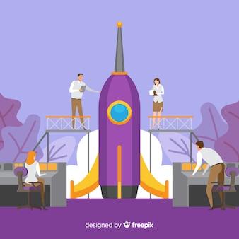 Fondo plano equipo construyendo cohete