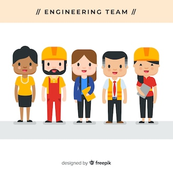 Fondo plano equipo de ingenieros