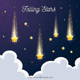 Fondo plano con estrellas fugaces