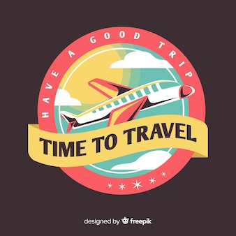 Fondo plano etiqueta de viaje vintage