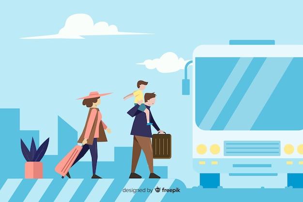 Fondo plano familia feliz viajando