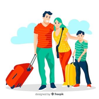 Fondo plano familia viajando