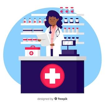 Fondo plano farmacéutica atendiendo clientes