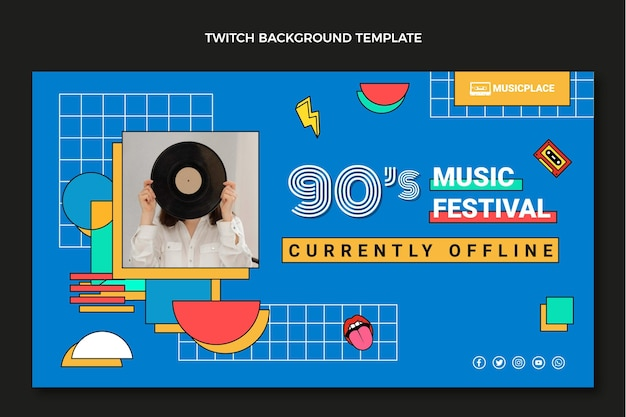 Fondo plano del festival de música nostálgico de los 90