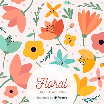 Fondo plano de flores de colores cálidos