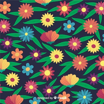 Fondo plano de flores y hojas
