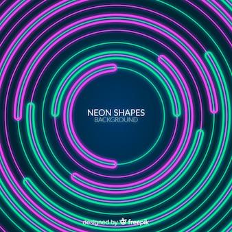 Fondo plano de formas geométricas de neón