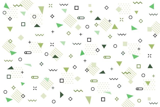 Fondo plano formas geométricas verdes
