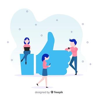 Fondo plano gente joven concepto me gusta en redes sociales