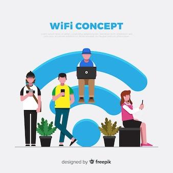 Fondo plano gente con signo de wifi