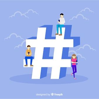 Fondo plano gente con símbolo de almohadilla en redes sociales