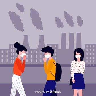 Fondo plano gente sufriendo la contaminación