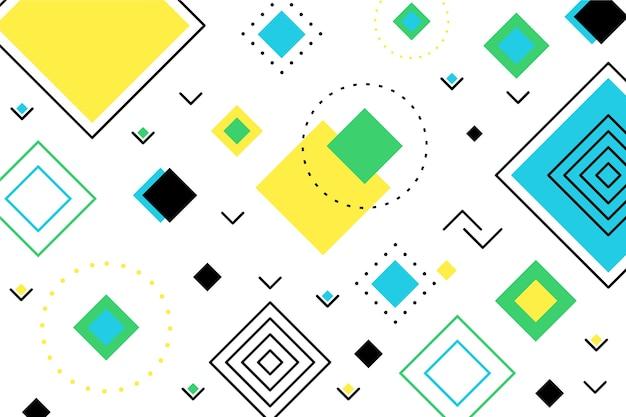 Fondo plano geométrico de formas verdes