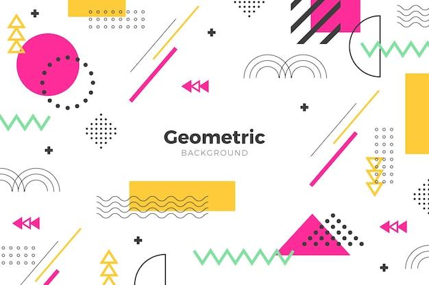 Fondo plano geométrico rosa formas