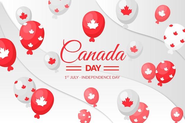 Fondo plano de globos del día de canadá